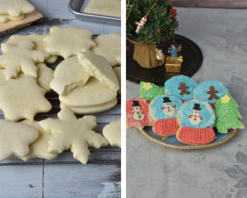 soft cut out sugar cookies decorated with buttercream frosting