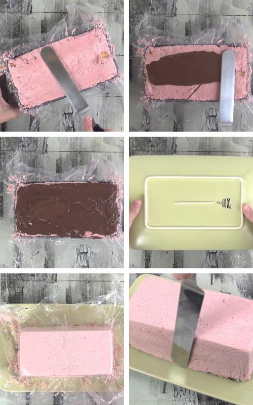 Unmolding mousse cake from a loaf pan.