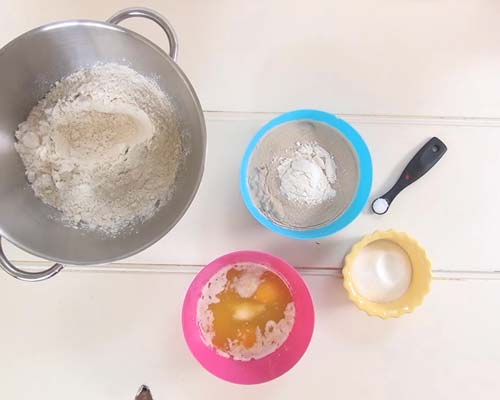 Ingredients for sweet bread dough.