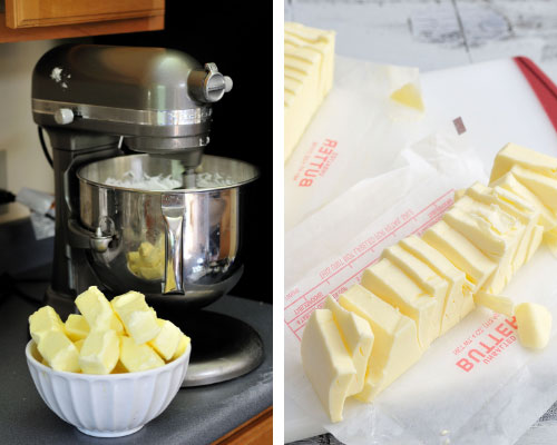 cut up butter in a bowl
