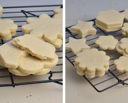 cut out vegan sugar cookies on a cooling rack