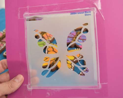Handcut butterfly stencil.