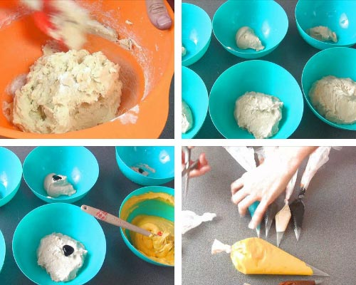 Colored cake batter in piping bags.