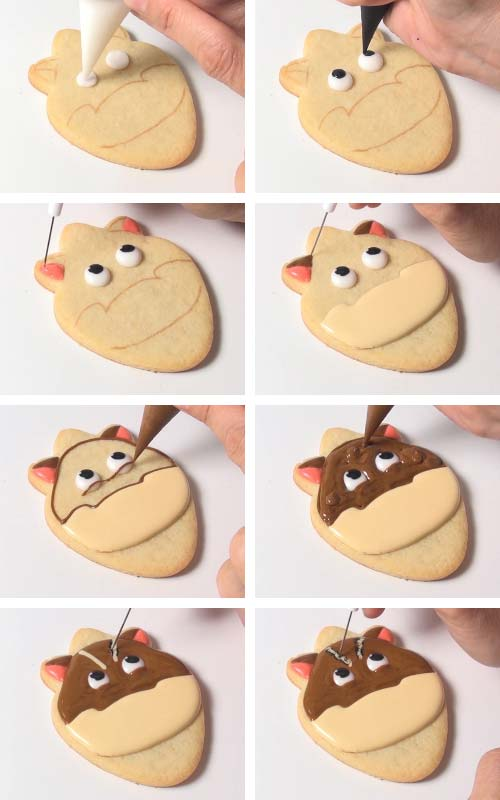 Piping chipmunk eyes with royal icing. Outlining and flooding a cookie. Using a needle tool to marble colors together.