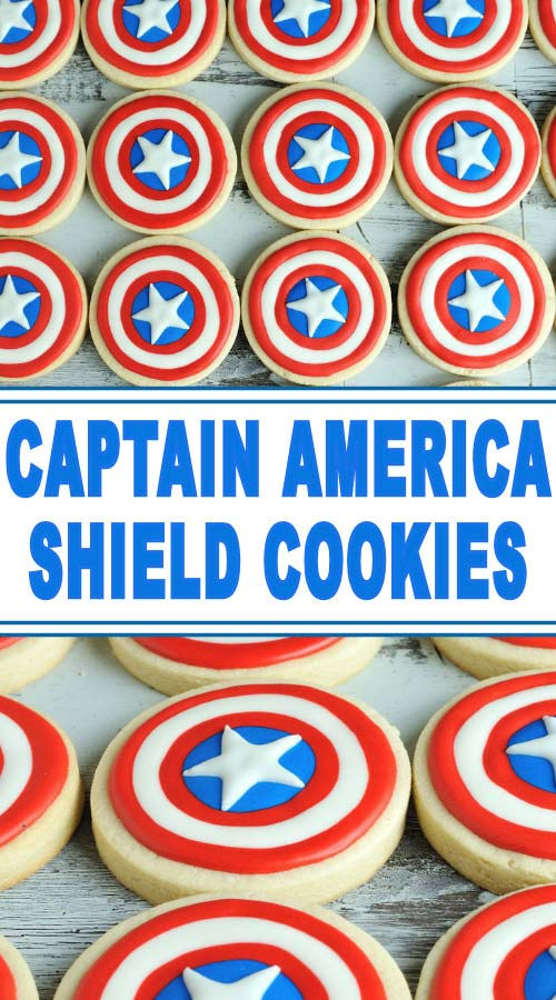 Round Captain America Shield cookies.