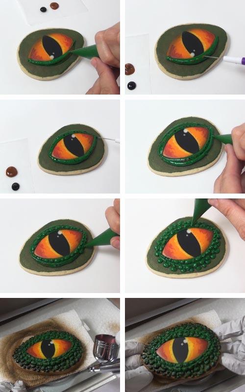 Piping dark green eyelid around orange eyes. Airbrushing eyelid with bronze metallic color.