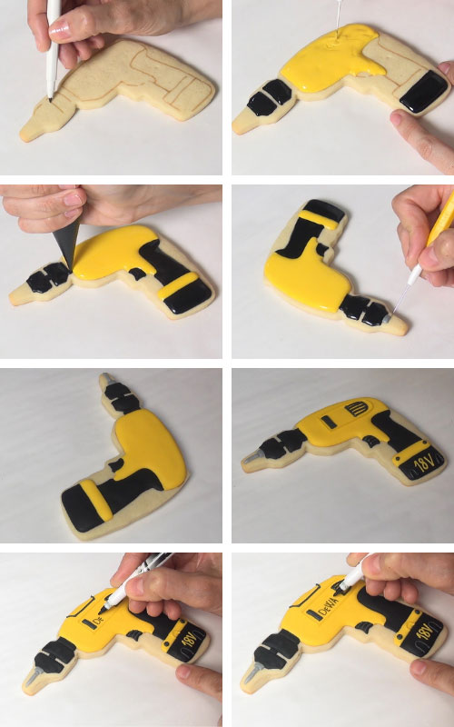 Decorating yellow and black drill sugar cookie.