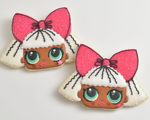 Lol Diva Cookie decorated with royal icing.
