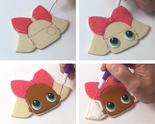 Flooding a cookie with royal icing.