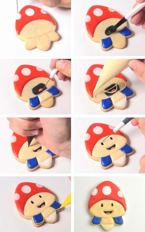 Decorating a cookie like a toy mushroom.