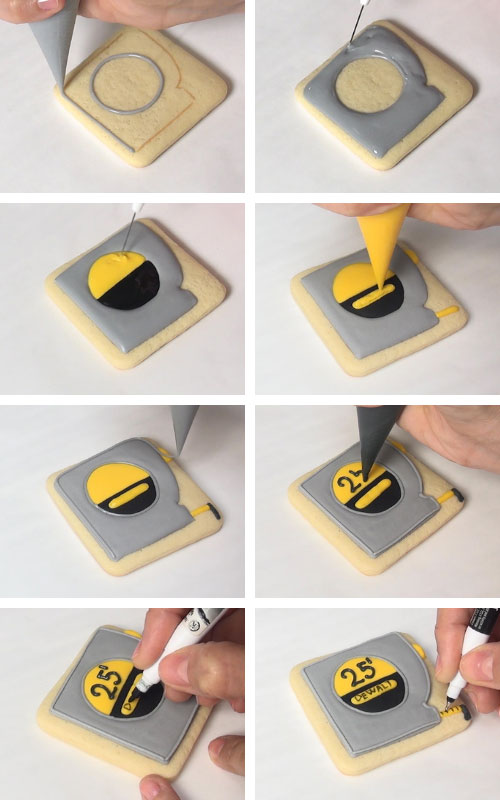 Decorating measuring tape handyman cookies with royal icing.