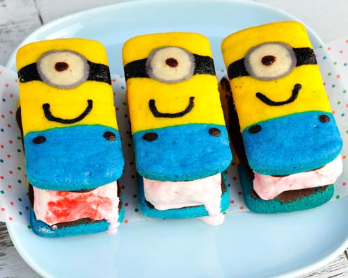 melting minion ice cream sandwiches on a plate.
