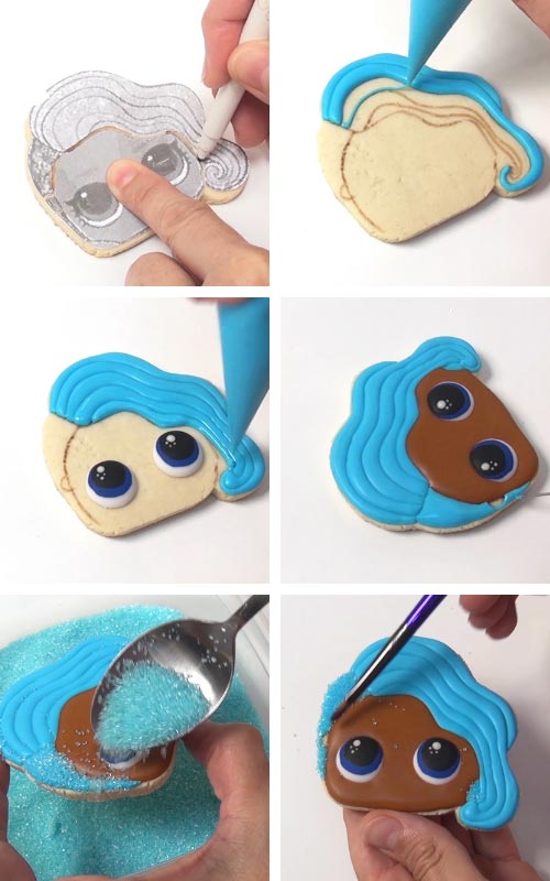 Decorating Mermaid Doll Cookie with royal icing.