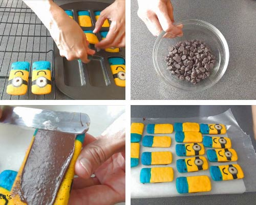 Spreading a thin layer of chocolate on the bottom of the cake.