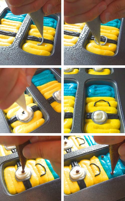 Piping minion cakes with a cake batter into a whoopie pan.