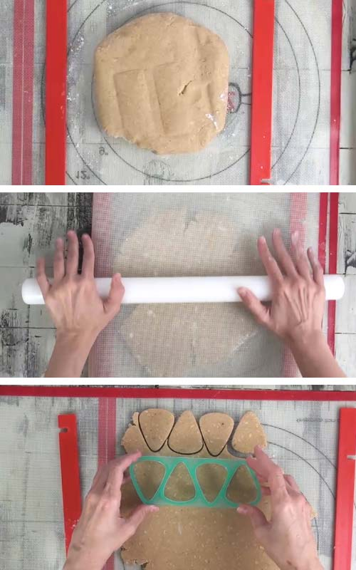 Rolling out cookie dough with rolling guides.