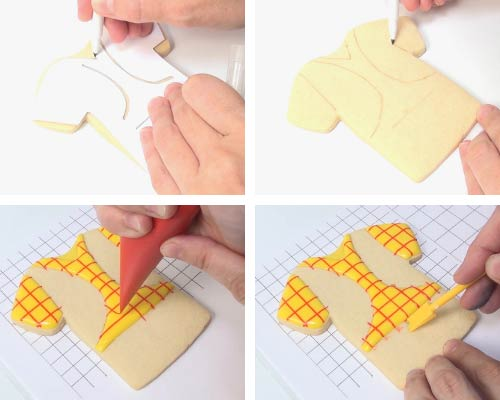 Tracing design on a cookie with edible marker.