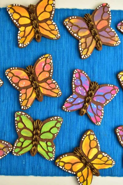 Colorful monarch butterfly cookies.