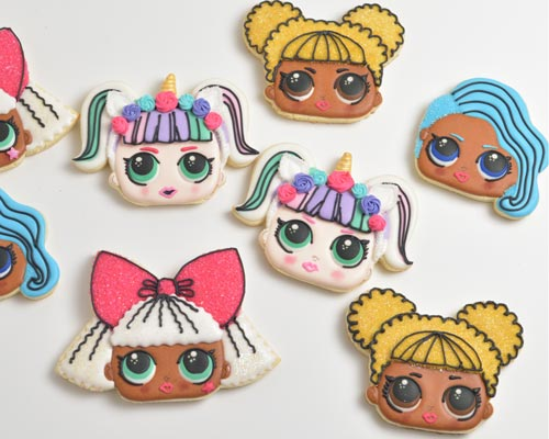 LOL Surprise Doll Cookies sugar cookies decorated with royal icing.
