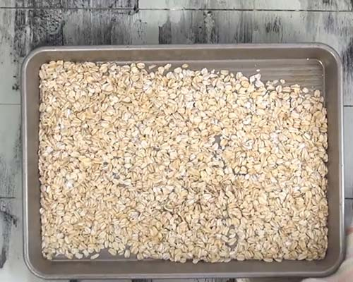 Toasted oats on a baking sheet.