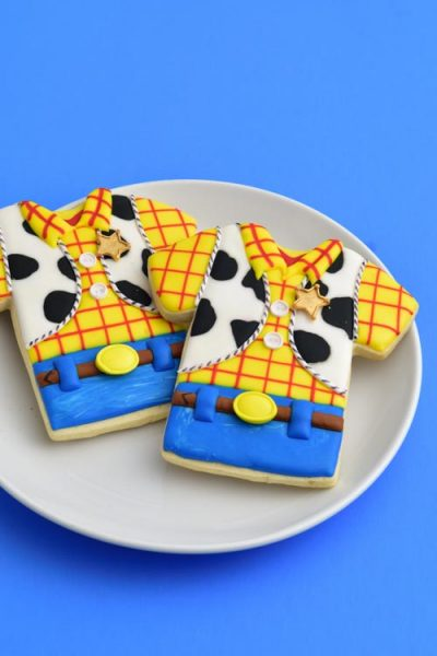 Woody Shirt cookies decorated with royal icing.