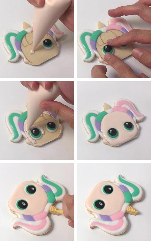 Flooding a unicorn cookie with royal icing.