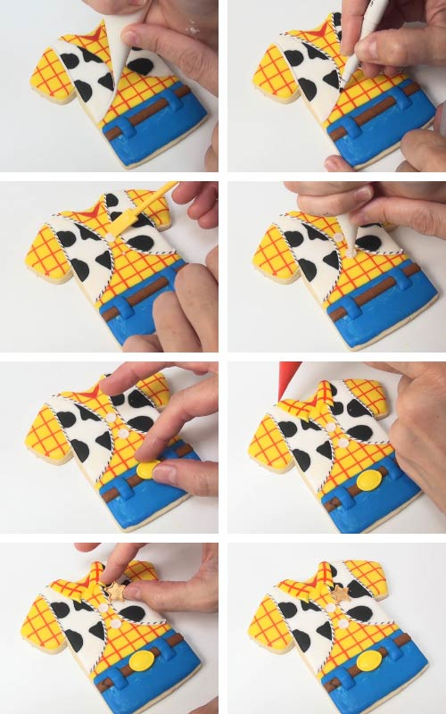Decorating woody cookies with royal icing transfers.