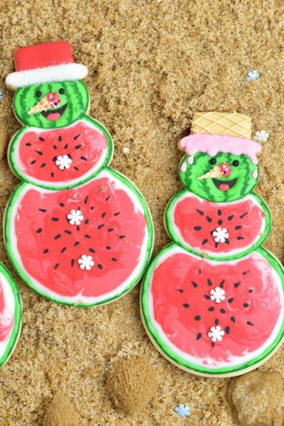 Snowman cookies decorated with royal icing.