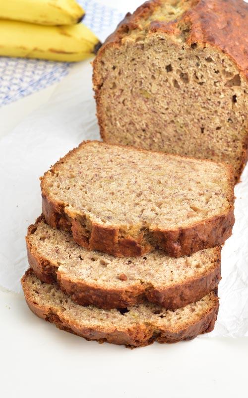 Sliced banana bread.