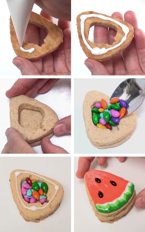 Gluing cookie together to make a pinata cookie.