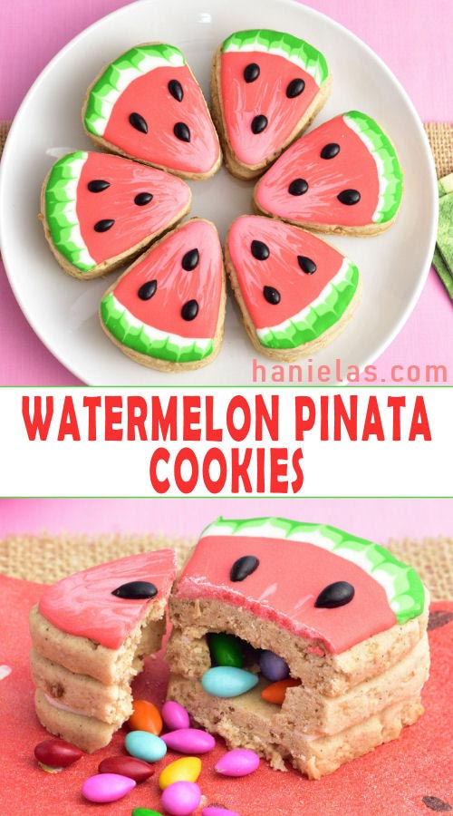 Decorated watermelon pinata cookies with chocolate sunflowers inside.