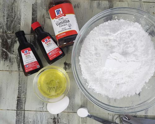 Ingredients for royal icing made with fresh egg whites.