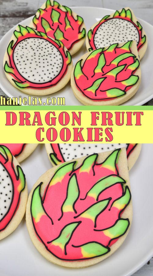 Decorated dragon fruit sugar cookies with royal icing.