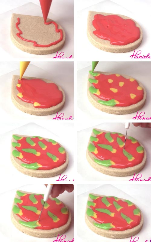 Flooding cookie with deep pink royal icing, adding yellow, green to make the scales. Using a needle tool to accentuate the points