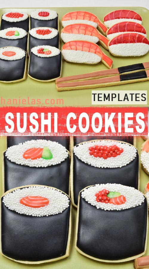 Sushi Cookies decorated with royal icing.