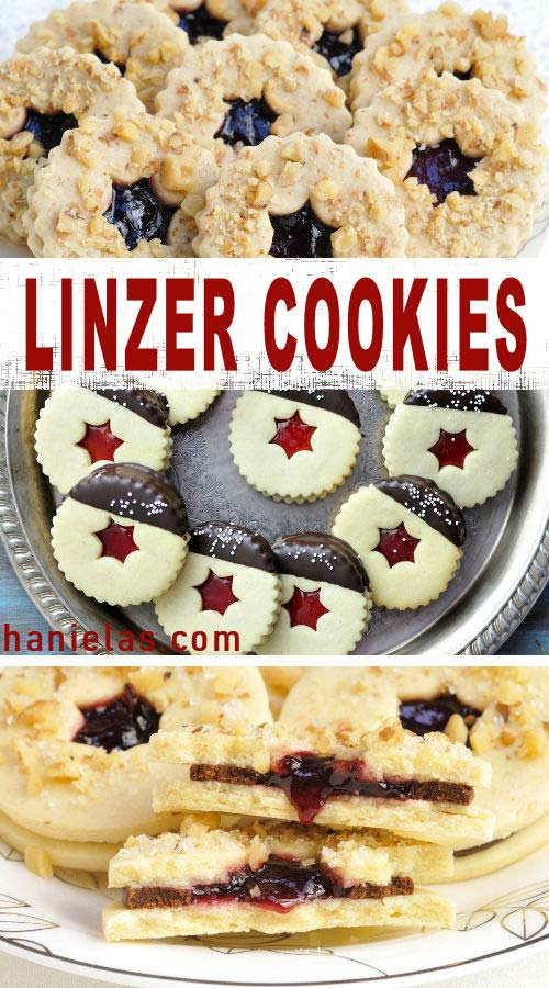 Linzer cookies sandwiched with raspberry jam on a tray.