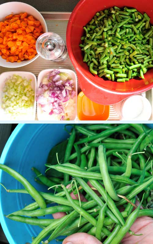 Diced carrots, onions, celery and green beans on a tray.