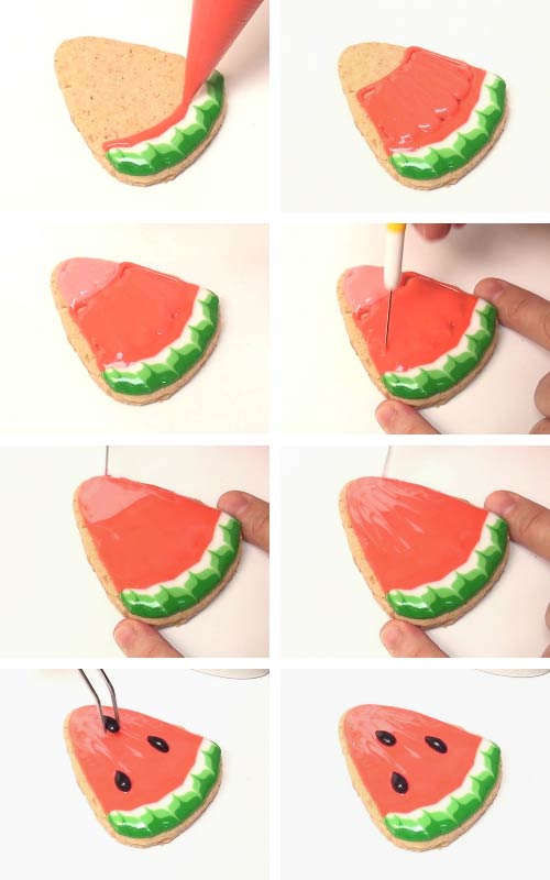 Adding chocolate sunflower seeds onto a watermelon cookie.