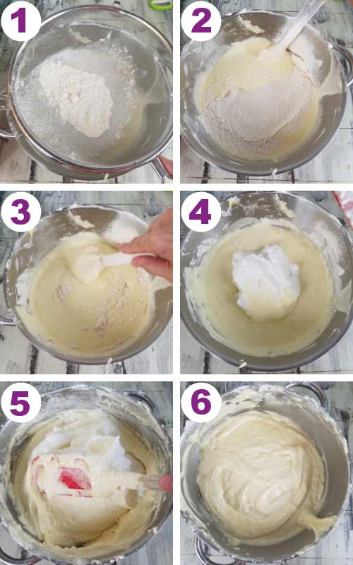 Folding meringue and flour into the egg yolk mixture.