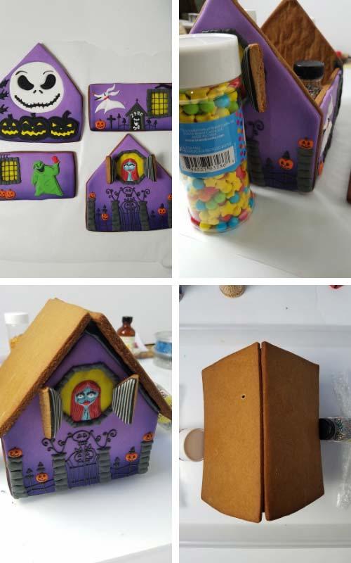 Assembling gingerbread house.