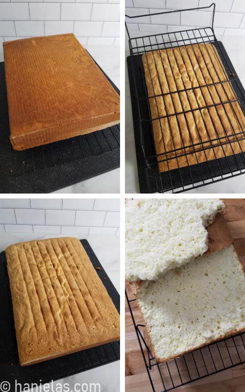 Baked rectangular cake on a cooling rack.