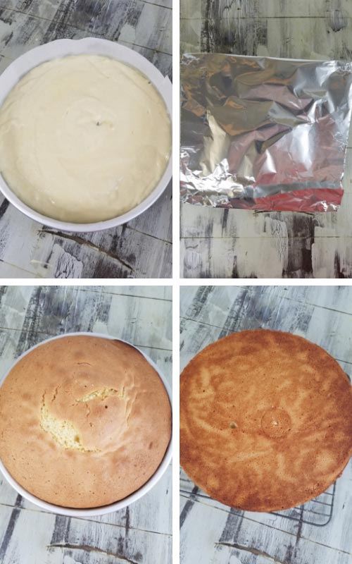 Cake pan filled with cake batter. Baked cake with a foil dome on the top.