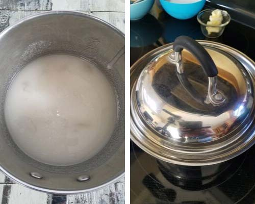 Sugar and water heating in a stainless steel pot covered with a lid.