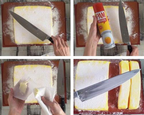 Cutting marshmallows with a buttered knife.