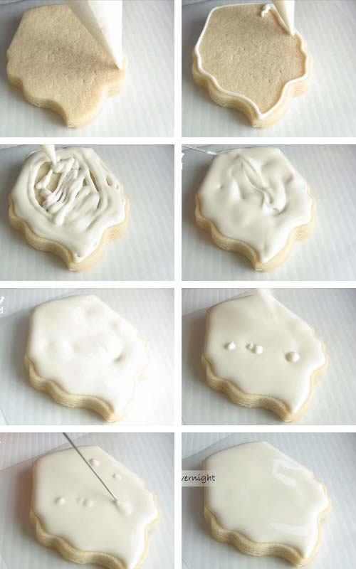 Flooding cupcake cookie with white icing.