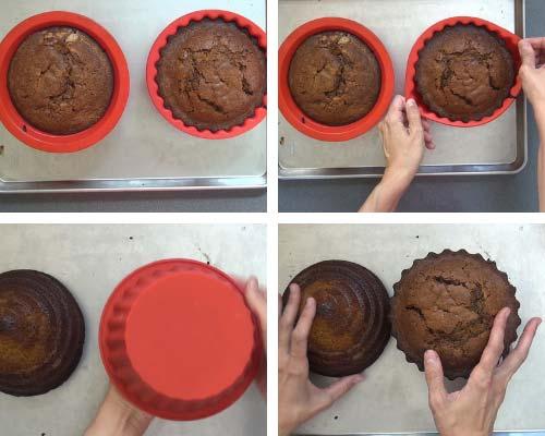 Unmolding baked cakes.