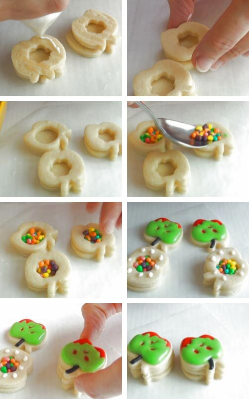 Filling cookies with little candies.