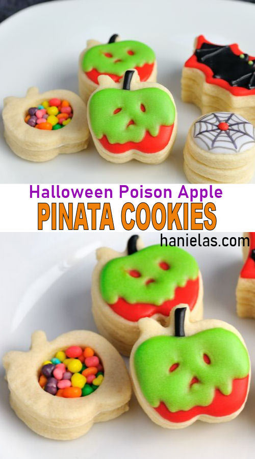 Decorated sugar pinata cookies on a plate showing the candies hidden inside of pinata cookies.
