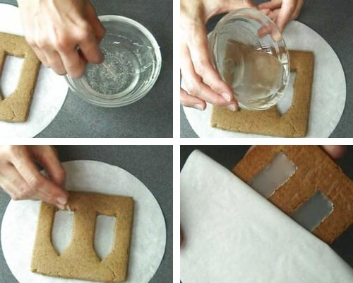 Pouring melted isomalt into a cookie.