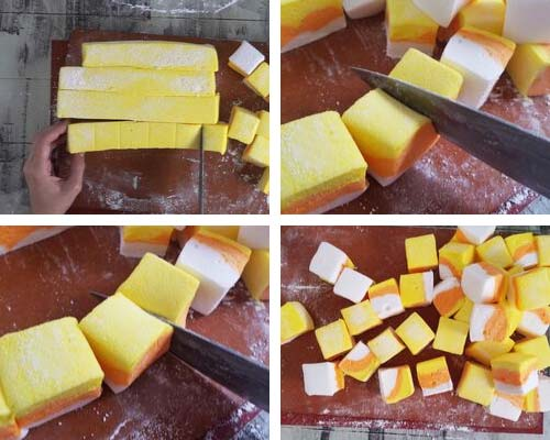 Cutting marshmallow into cubes.